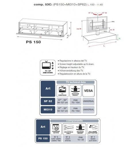 MUNARI PS150NE+MI310+SP62 MOBILE PORTA TV FINO A 63 POLLICI NERO MADE IN ITALY