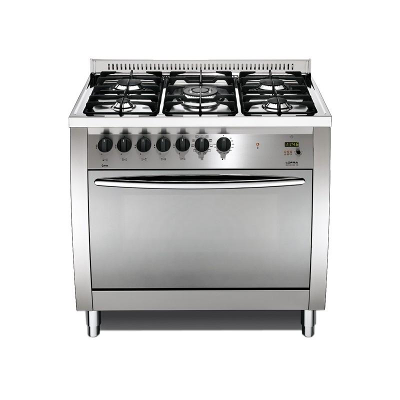 Lofra Cg96Gv/C 90X60 Cucina Curva Con Piano In Acciaio Lucidato