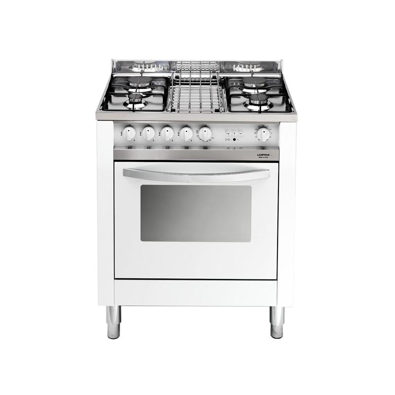 Dagimarket lofra mb75gv bianca 70x50 cucina con piano in acciaio lucidato a specchio 4 fuochi - Cucina con forno a gas ventilato ...