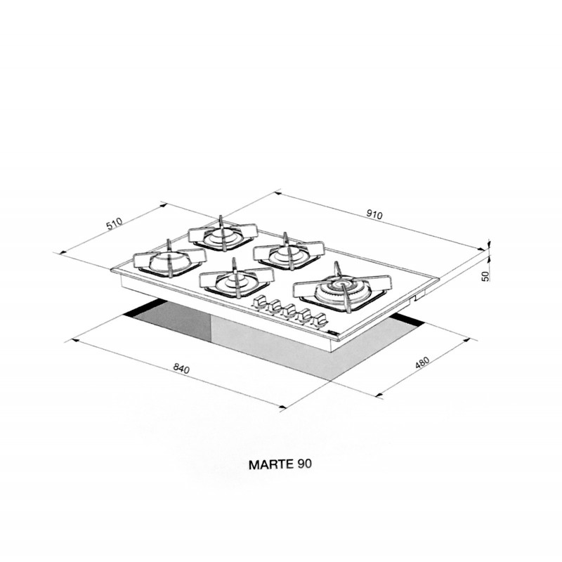 Lofra Hgb950 Marte 90 White Piano Cottura Valvolato 90Cm Con
