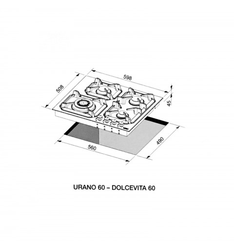 Lofra Hlnm6G0 Urano 60 Black Piano Cottura Valvolato 60Cm