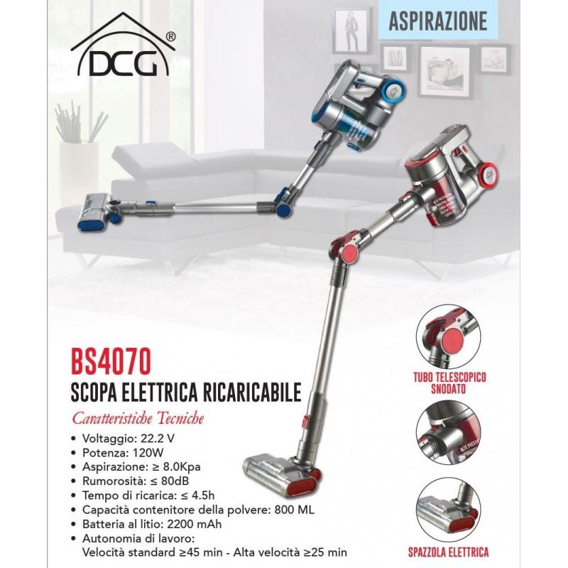 DCG BS4070 SCOPA ELETTRICA RICARICABILE SENZA SACCO CICLONICA 2IN1 ASPIRAPOLVERE PORTATILE