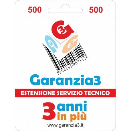 GARANZIA3 GR3V500 ESTENSIONE GARANZIA 3 ANNI PER PRODOTTI FINO A 500 EURO