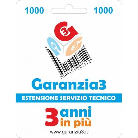 GARANZIA3 GR3V1000 ESTENSIONE GARANZIA 3 ANNI PER PRODOTTI FINO A 1000 EURO