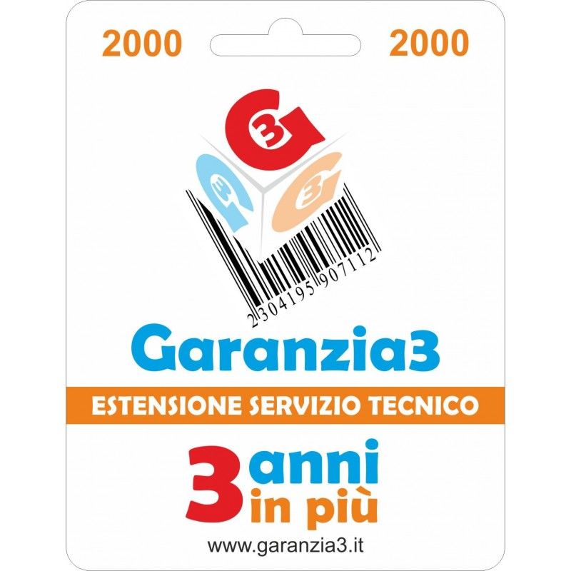 GARANZIA3 GR3V2000 ESTENSIONE GARANZIA 3 ANNI PER PRODOTTI FINO A 2000 EURO