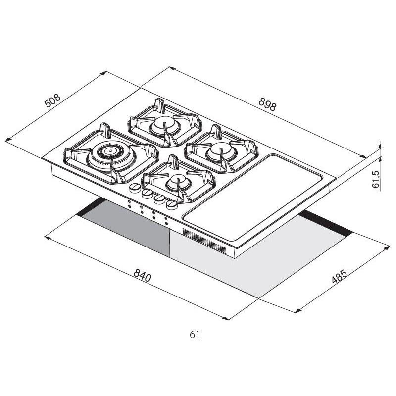 LOFRA HLBI9G2I NETTUNO 90 COMBI GAS + INDUZIONE - PIANO COTTURA VALVOLATO 90CM SEMIFILO INOX COLORE AVORIO