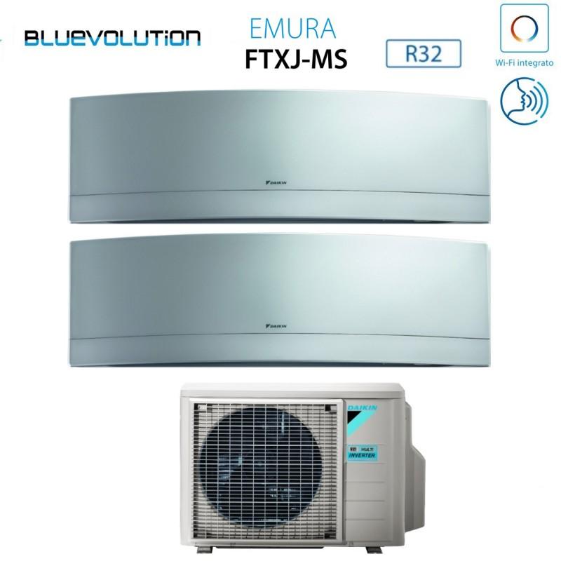 Daikin 2MXM50M FTXJ35MS Condizionatore Climatizzatore Dual Split Emura 2x 12000Btu A+++/A++ Inverter Wifi Silver 4anni Garanzia